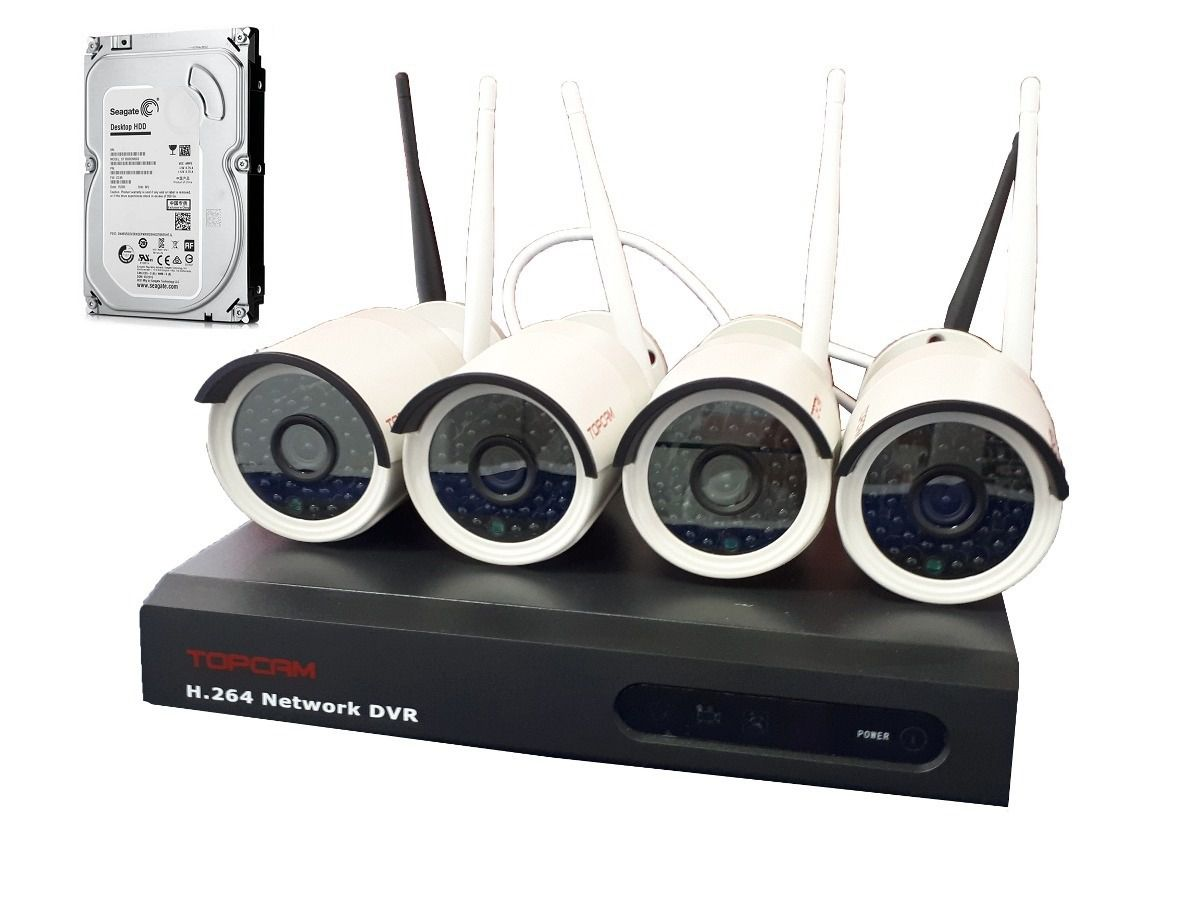 Kit Nvr 4 Camera Ip Wifi Wireless Sem Fio Externo + Hd 500gb