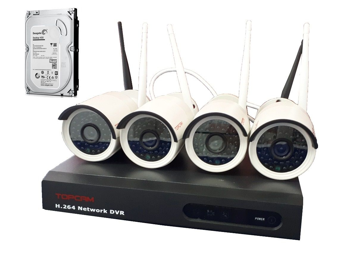Kit Segurança Nvr 4 Camera Ip Wifi Wireless Sem Fio +hd500gb