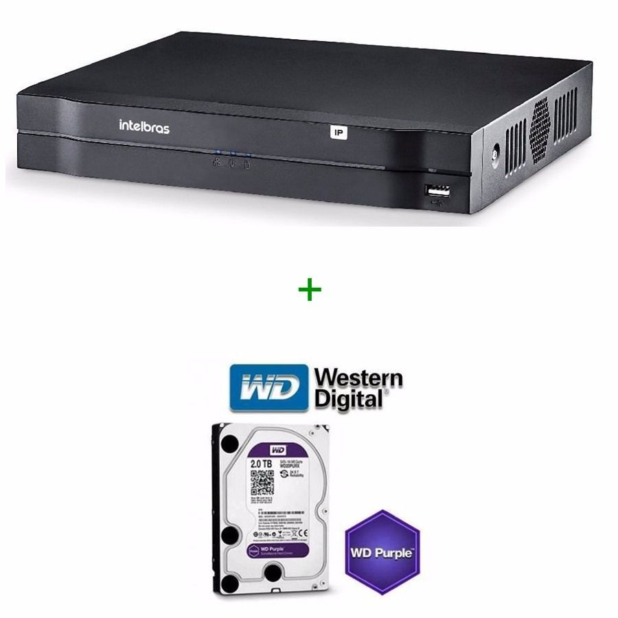 Nvr Gravador Ip Intelbras Nvd 1108 8 Ch + Hd Wd Purple 2 Tb