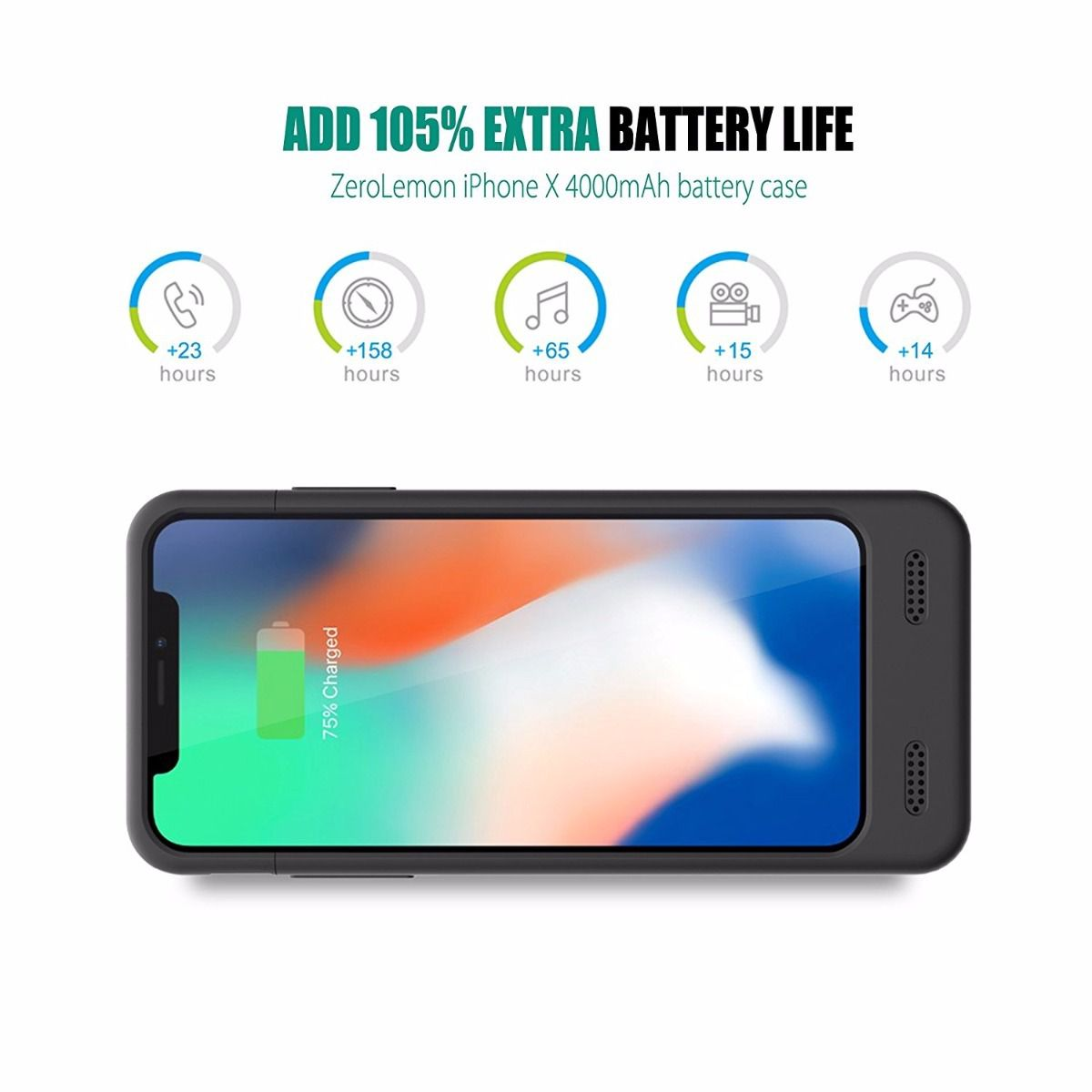Smart Case Battery Para iPhone X Xs 4000mah iPhone 10