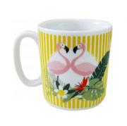 Caneca Ceram 300 Ml  Flamingo - Amarelo