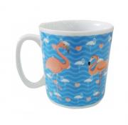 Caneca Ceram 300 Ml  Flamingo - Azul
