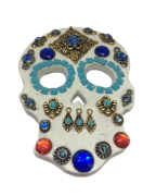Imã Caveira Mexicana Branco Azul - Mdf