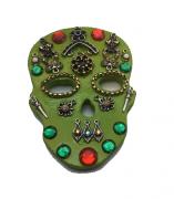 Imã Caveira Mexicana Verde - Mdf