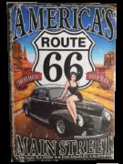 Placa MDF 30x20 Cm Route 66