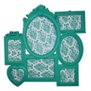 Porta Retrato Plastico Romantic Frames Blue Green 52 X 52 X