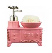 Porta Sabonete Líquido Retro Armário E Cuba Rosa Com Esponja - Cerâmica