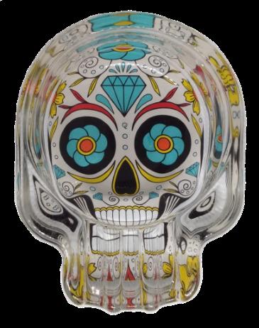 Cinzeiro de Vidro Caveira Mexicana