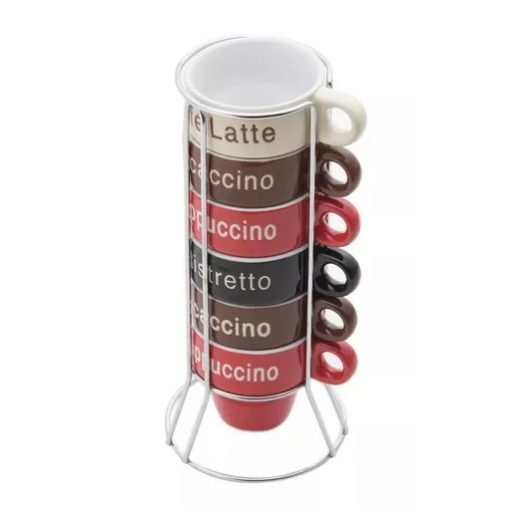 Conjunto 6 Xícaras de Porcelana Café Names com Suporte 70ml Colorido - Bon Gourmet 30364