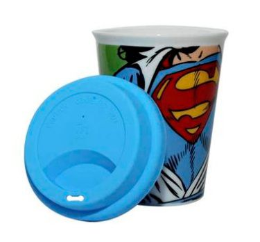 Copo Cerâmica Dc Com Tampa Silicone Superman Opening Shirt