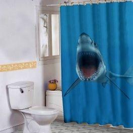 Cortina Banheiro Shark Attack 02 150x180 Cm