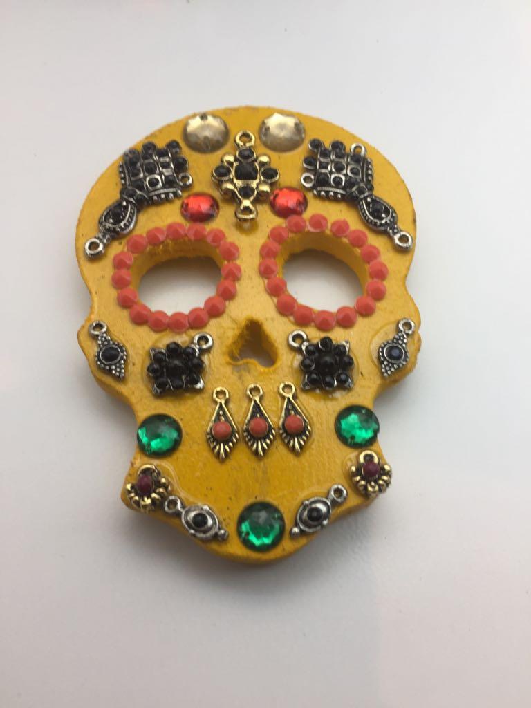 Imã Caveira Mexicana Amarelo - Mdf