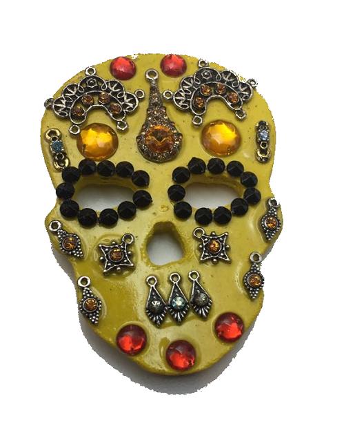 Imã Caveira Mexicana Amarelo Preto - Mdf