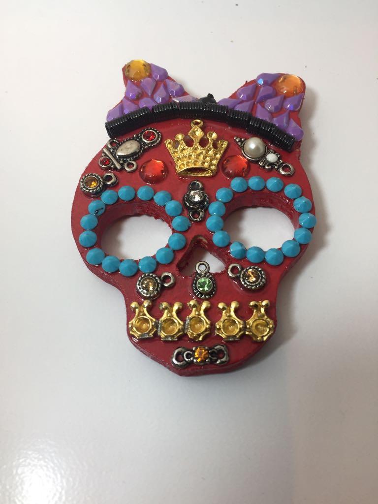 Imã Caveira Mexicana Vermelho-  Mdf