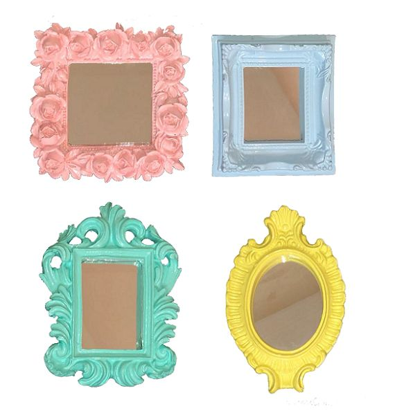 Kit C/ 4 Espelhos Pequenos Candy Colors