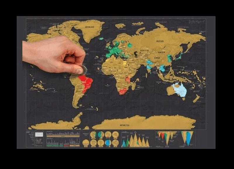 Mapa Raspadinha Deluxe - Mapa De Raspar - Papel Laminado - 42.3x30 cm