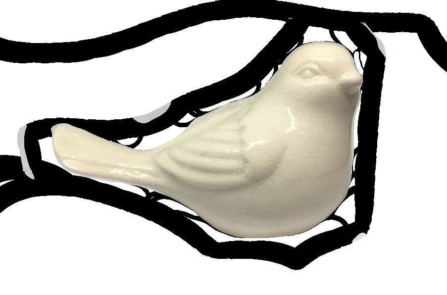 Pássaro 4 Cm Branco Cerâmica