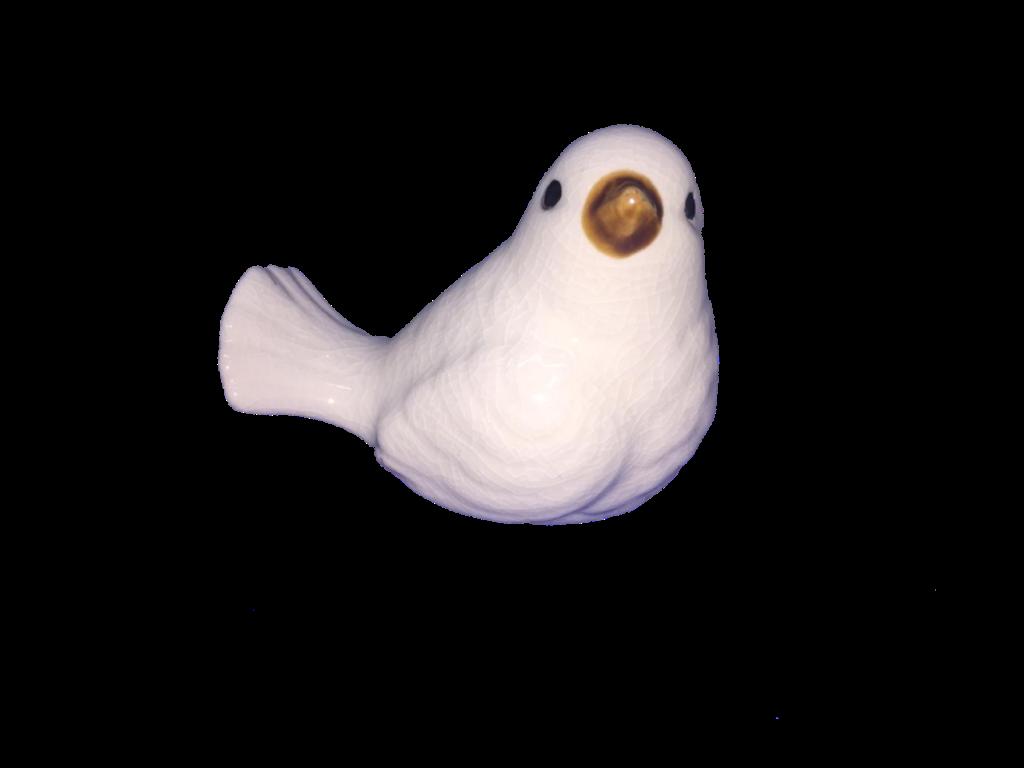 Pássaro 6 Cm Branco Cerâmica