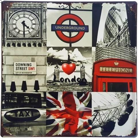 Placa De Metal Decorativa I Love London - 30 X 30 Cm