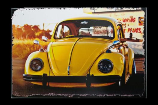 Placa MDF 30x20 Cm Fusca Amarelo