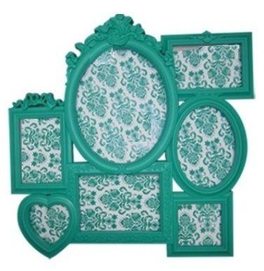 Porta Retrato Plastico Romantic Frames Blue Green 52 X 52 X