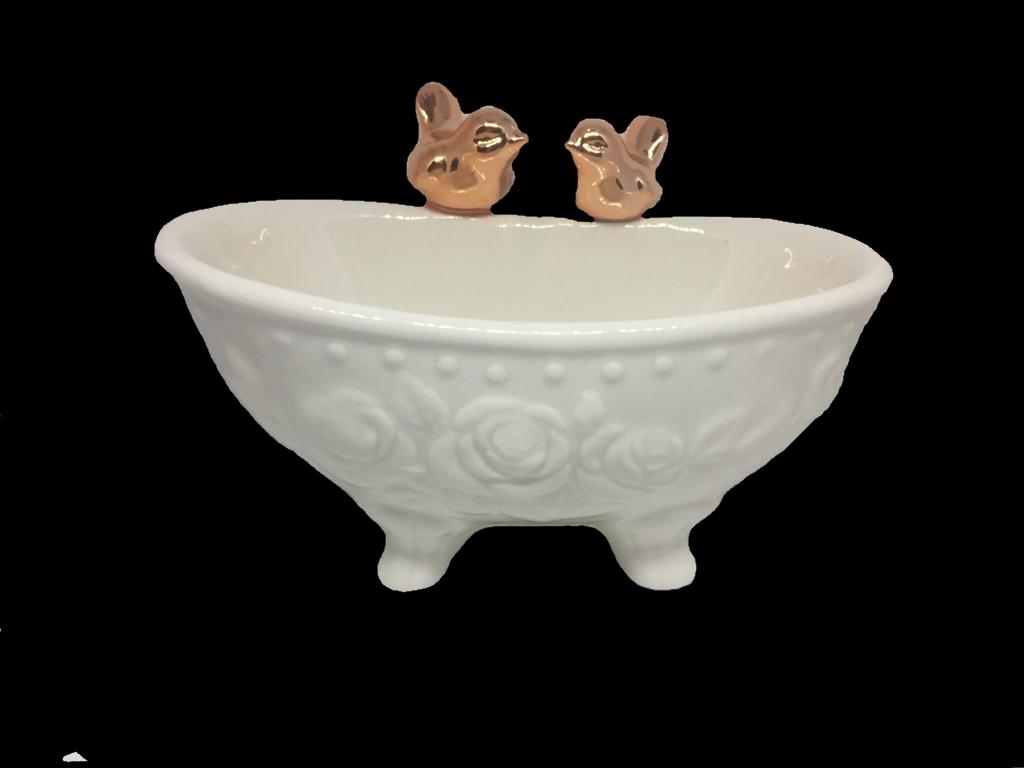 Saboneteira Banheira Com Pássaros 15 Cm Cerâmica
