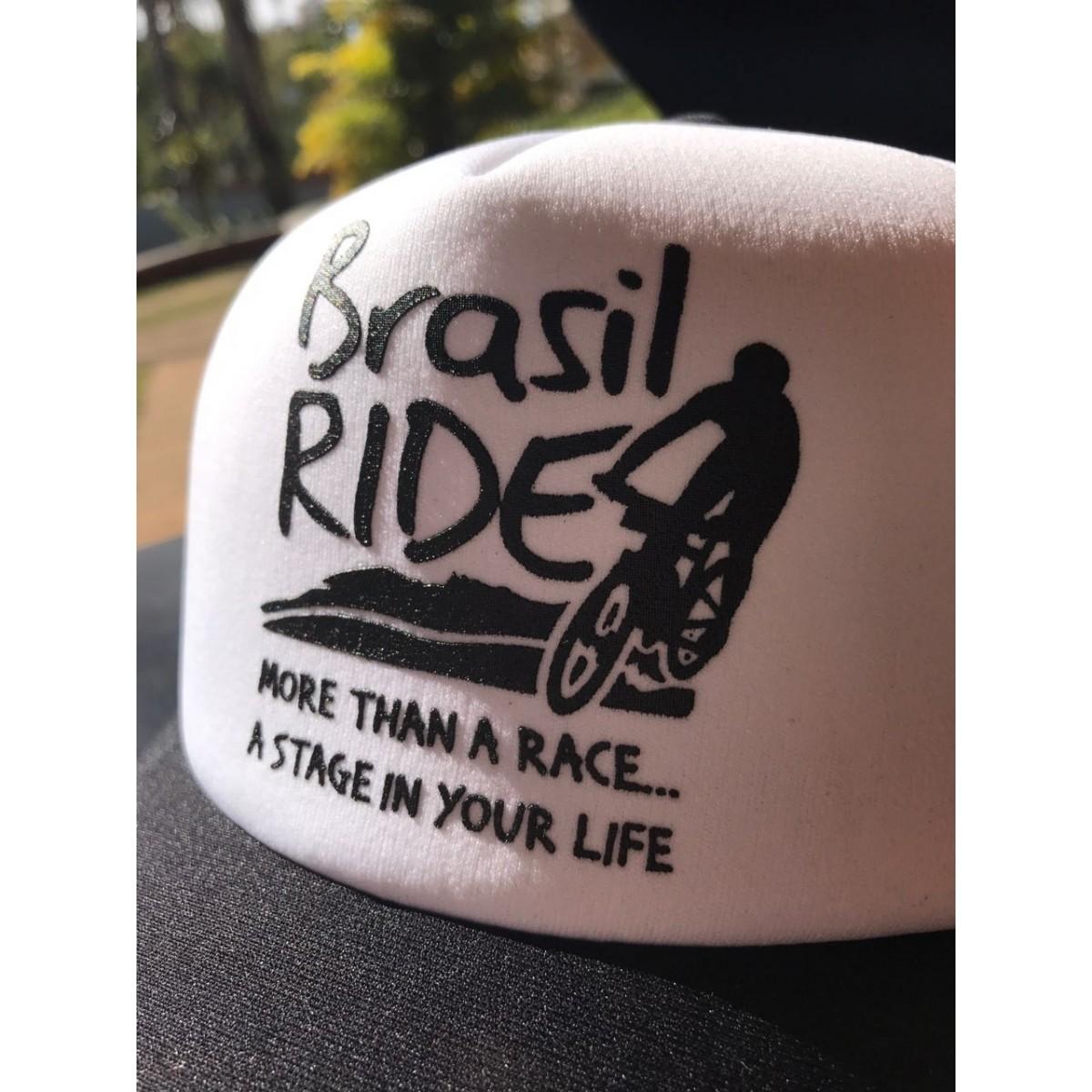 Boné Brasil Ride preto e branco silkado