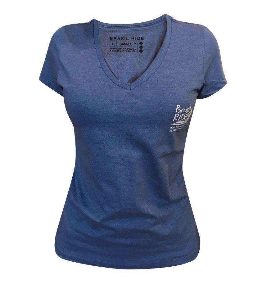 Tshirt Brasil Ride feminina azul