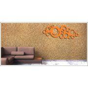 Quadro Para Decoração Escultura Em MDF Círculos Arabesco 100 X 50 cm