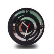Relógio de Parede Decorativo em Madeira Mdf Laminado e Detalhes em Espelhos
