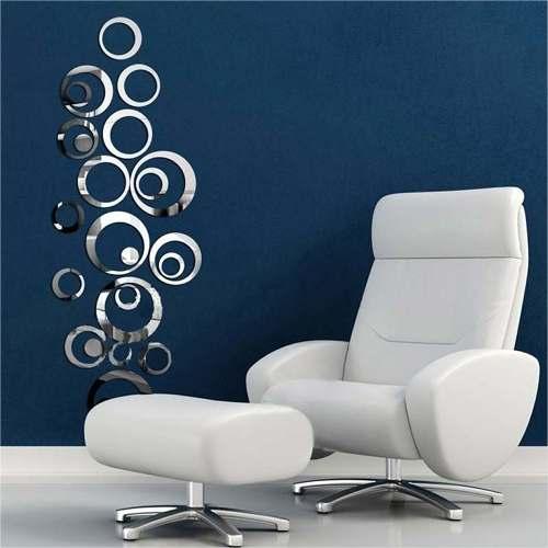 Espelho Decorativo De Acrílico Para Sala Círculos Criativos - 24 Peças