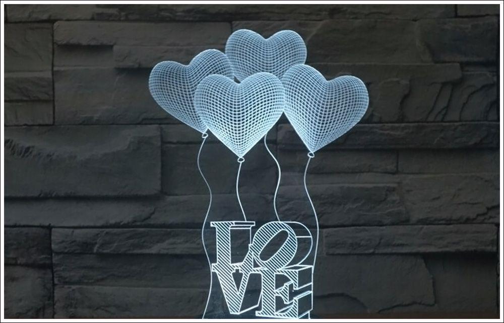 Abajur Em Acrílico Com Led Balões Love 3d + Diversos Temas