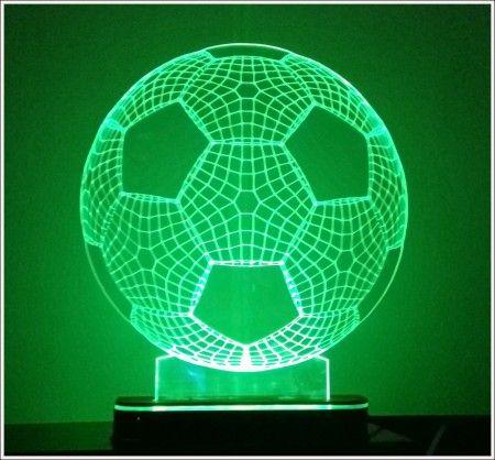 Abajur / Luminária Em Acrílico Com Led Bola De Futebol