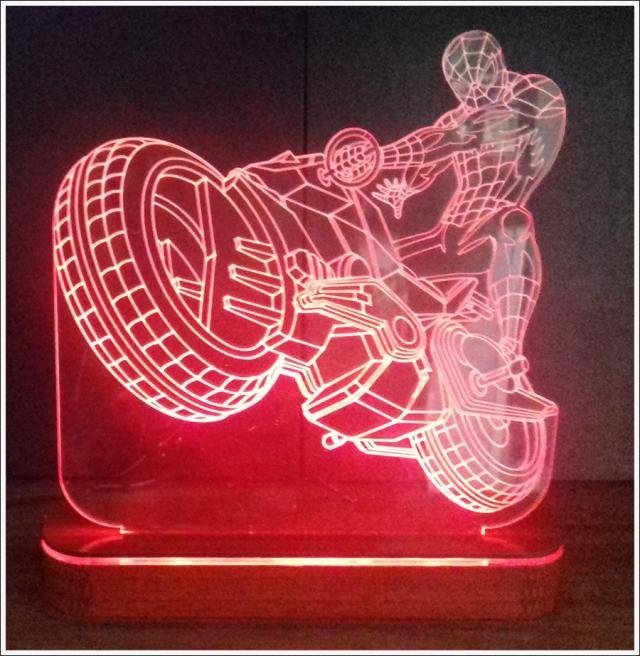 Abajur/luminária Em Acrílico Homem Aranha Com Led E Base iLuminada