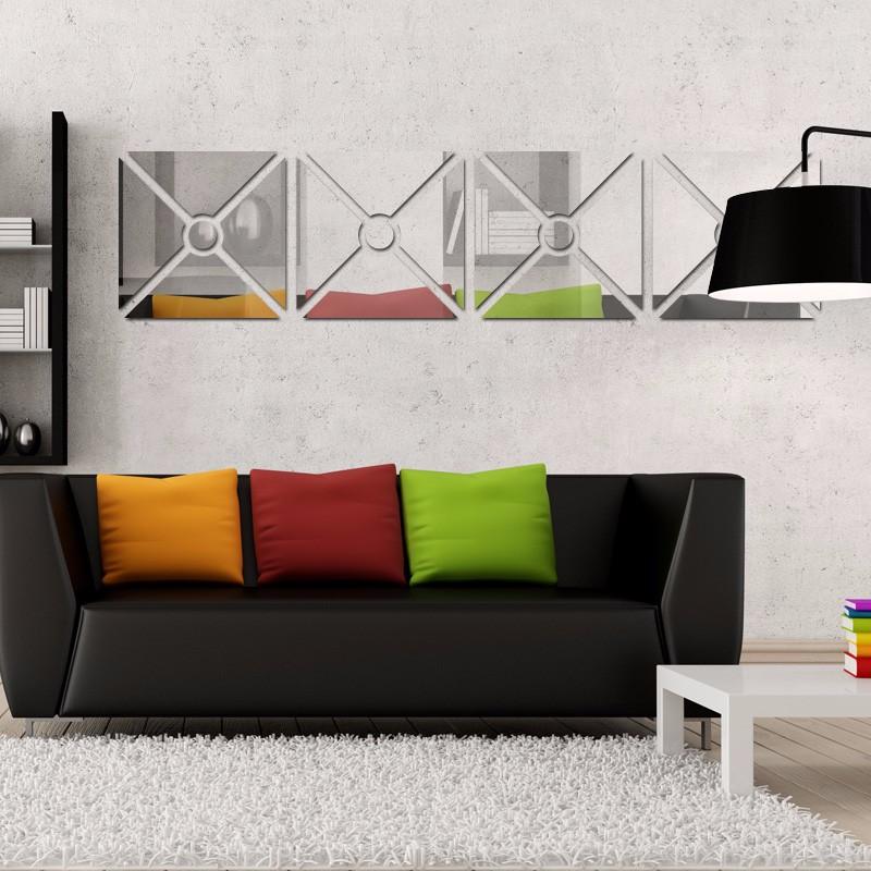 Acrílico Espelhado Para Sala Design Quadrado Círculo Central 33,0 x 137 cm