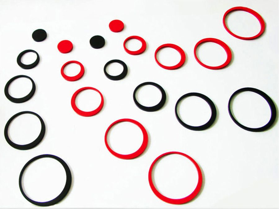 Círculos Decoração de Ambientes MDF 3D 20 Peças Cores Preto e Vermelho