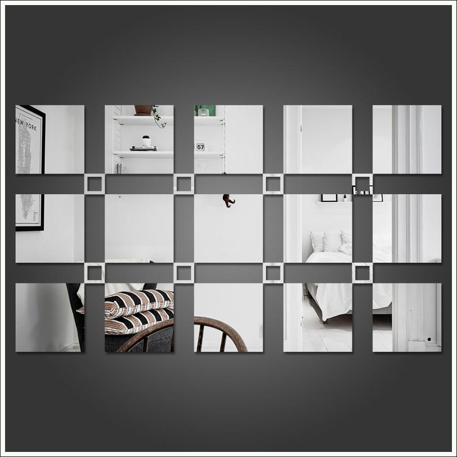 Espelho Decorativo Acrílico 23 Quadrados Para Sala Quarto Escritório