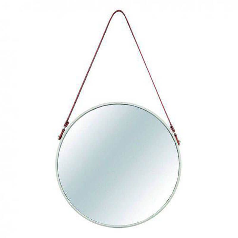 Espelho Redondo Decorativo Metal 40,5 cm x 40,5 cm Mart Collection Off White
