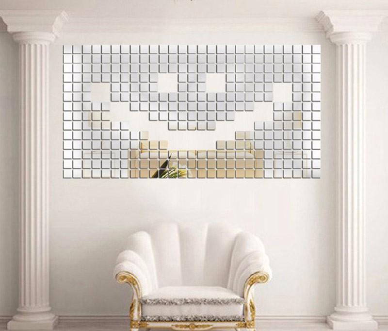 Espelhos Decorativos Em Acrílico Mosaico 50 Peças 7 X 7 Cm