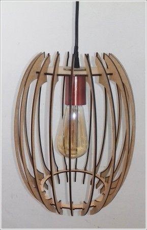 Luminária De Teto Em Mdf Crú Estilo Barril Retro Vintage