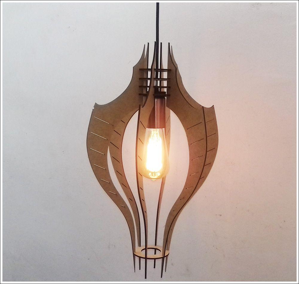 Luminária Pendente Em Mdf Crú Estilo Bat Retro Vintage