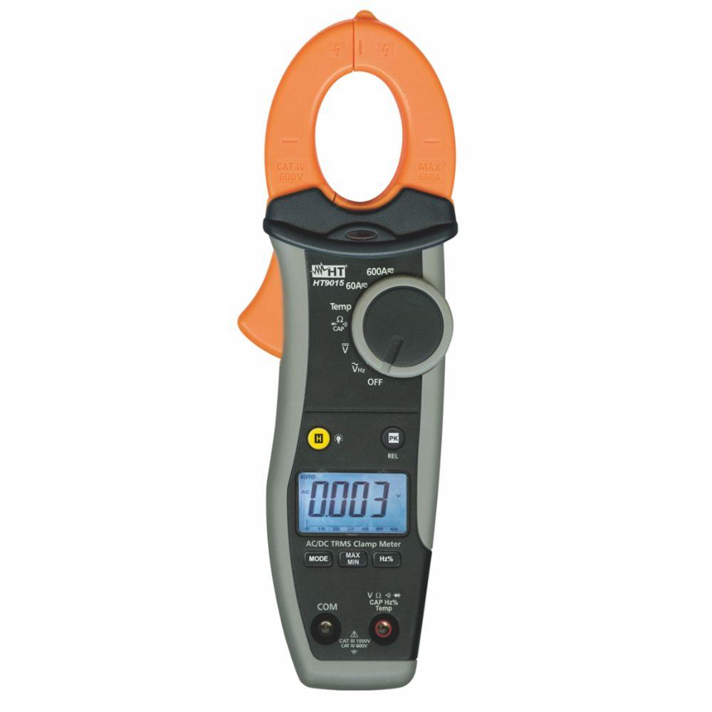 HT9015 Alicate amperímetro AC/DC TRMS 600A CAT IV 600V com temperatura