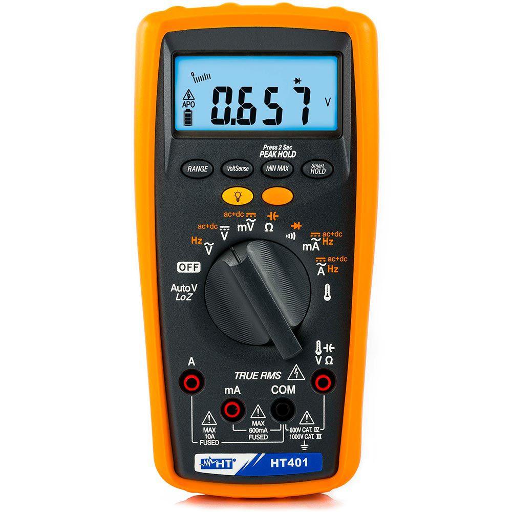 HT401 Multímetro com medidas AC+DC e medida de temperatura