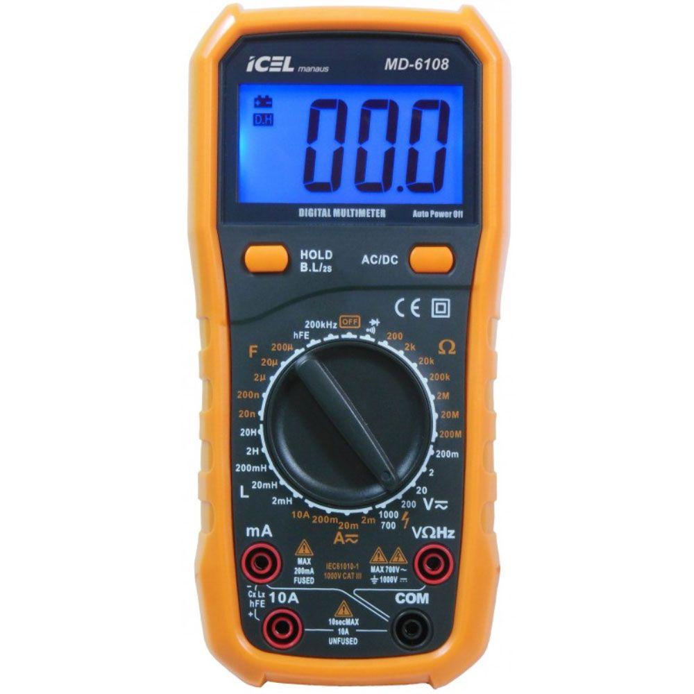 MD-6108 Multímetro digital com HFE