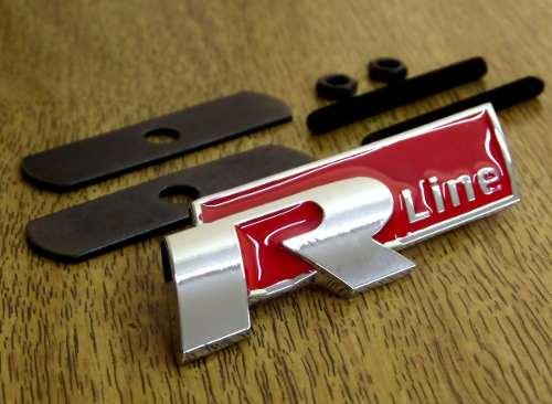 Emblema Rline Grade Cromado Gol Jetta Golf Polo Fox - Vermelho