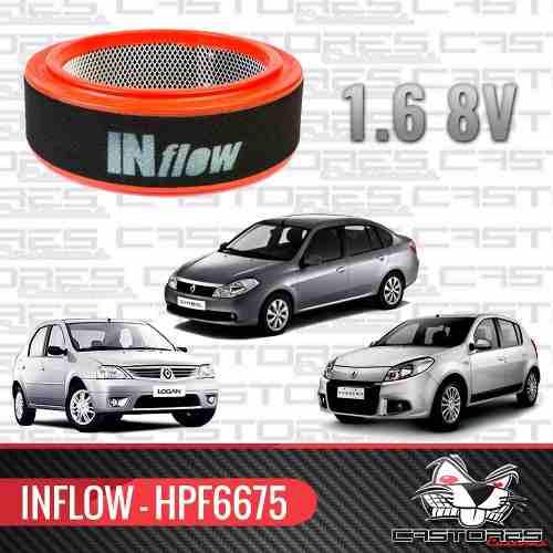 Filtro Ar Esportivo Inflow Sandero Logan Symbol 1.6 Hpf6675