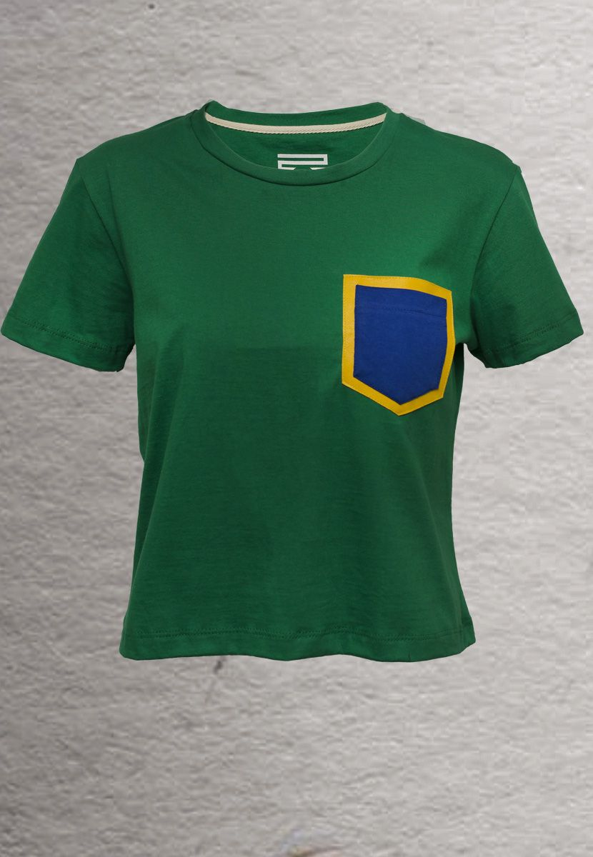 Camiseta Couro Brasil (Feminino Adulto)