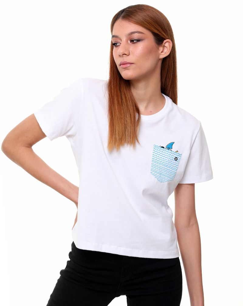Camiseta Fake Shark (Feminino Adulto)