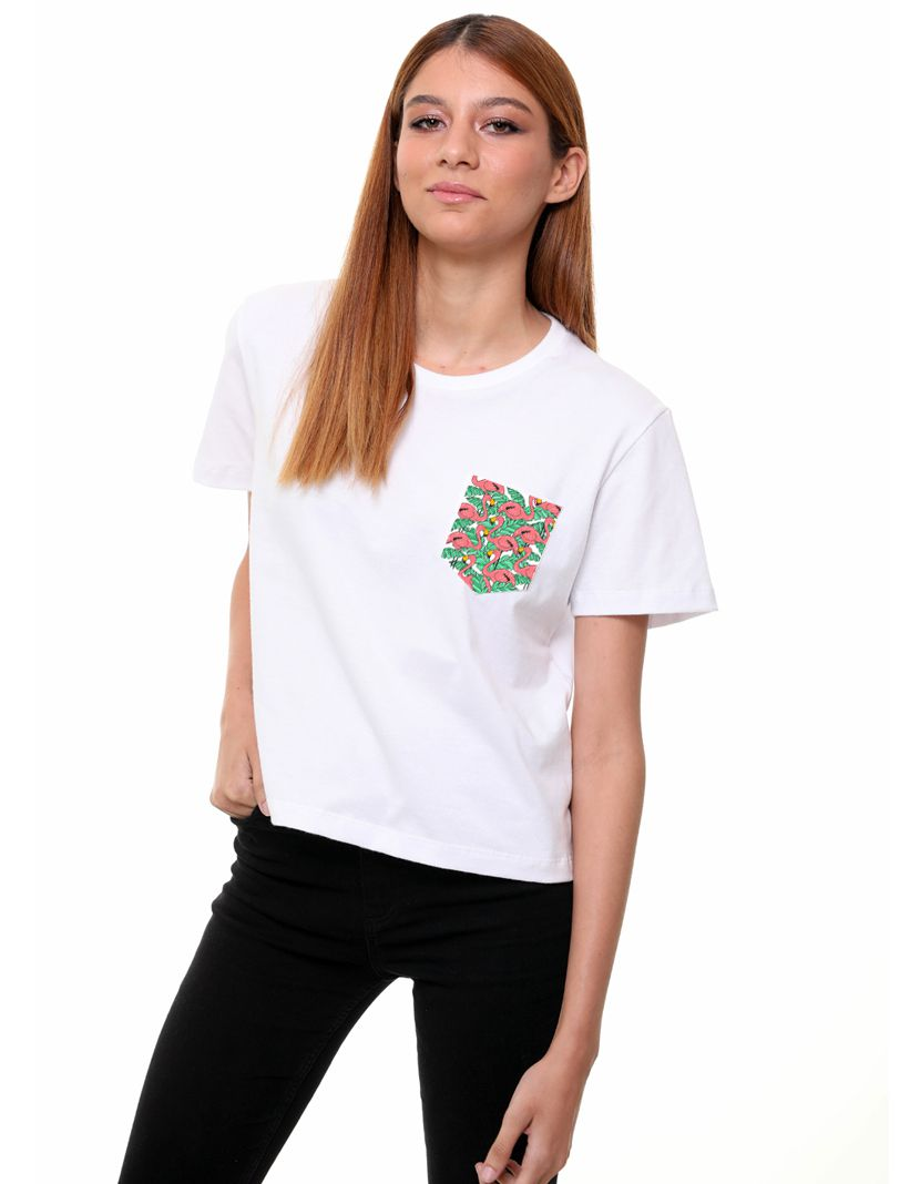Camiseta Flamingo Flowers (Feminino Adulto)