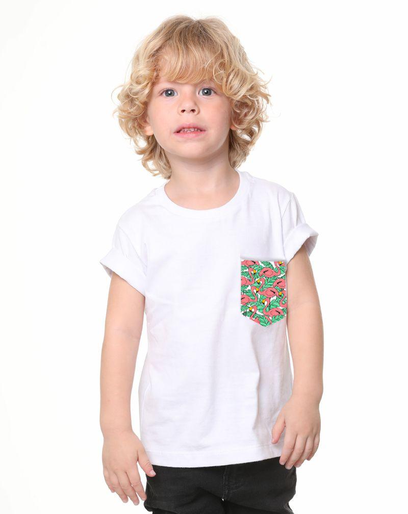 Camiseta Flamingo Flowers (Infantil Masculino)